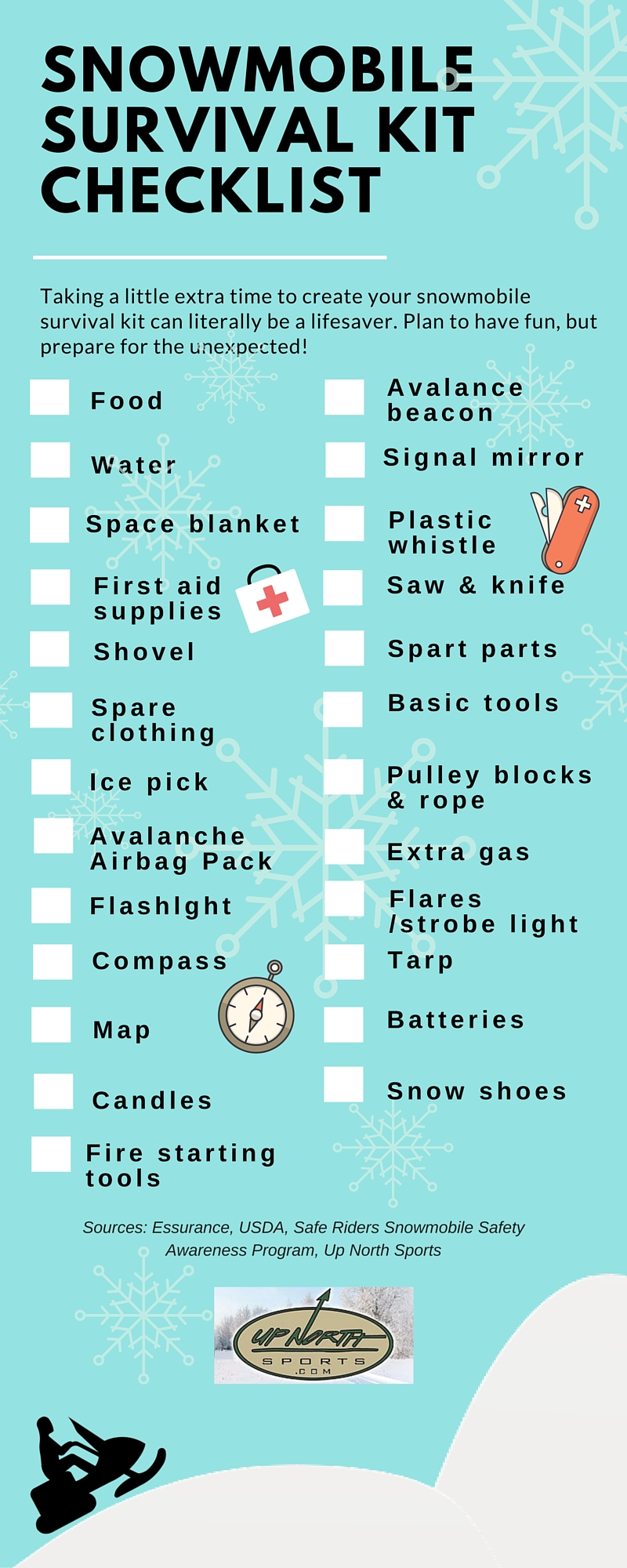 Snowmobile Survival Checklist